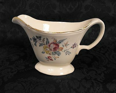 Edwin M Knowles Gravy Boat  Semi Vitreous China  44-2 Floral Gold Trim  U.s.a.