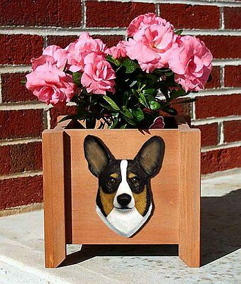 Welsh Corgi Pembroke Planter Flower Pot Tri