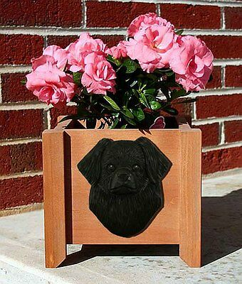 Tibetan Spaniel Planter Flower Pot Black