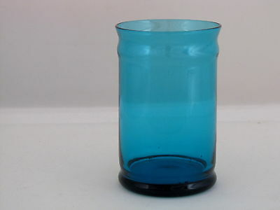 "Morgantown Glass Diplomat Jar w/o Lid in Peacock Blue Color Glass, 4 3/4"" tall"
