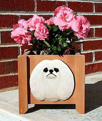 Pekingese Planter Flower Pot White