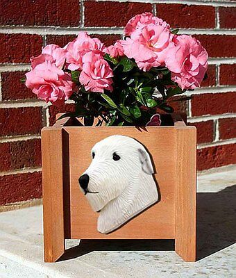 Irish Wolfhound Planter Flower Pot White