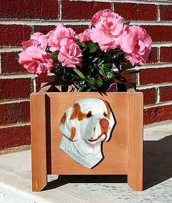 Clumber Spaniel Planter Flower Pot Orange