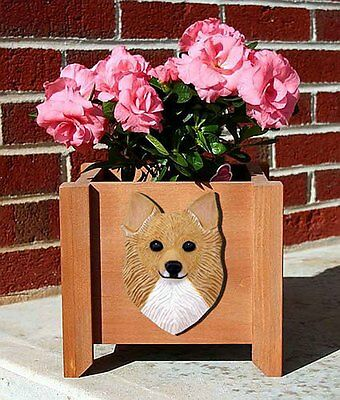 Chihuahua Planter Flower Pot Longhair Fawn