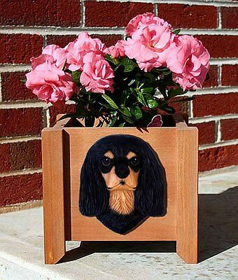 Cavalier King Charles Planter Flower Pot Black Tan