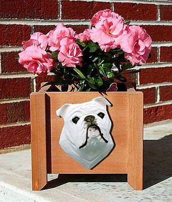 Bulldog Planter Flower Pot White