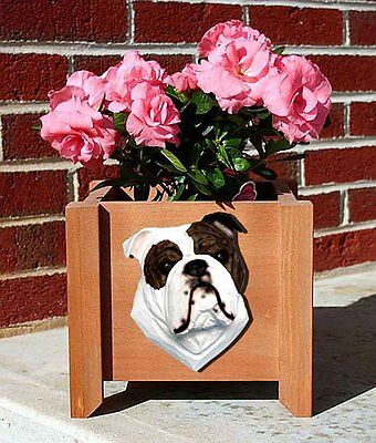 Bulldog Planter Flower Pot Brindle White