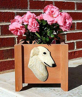 Borzoi Planter Flower Pot Cream