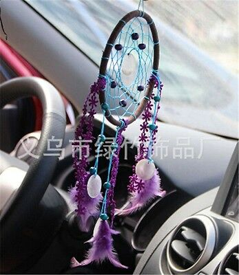 Dream Catcher with Purple feathers car or wall hanging decoration ornament