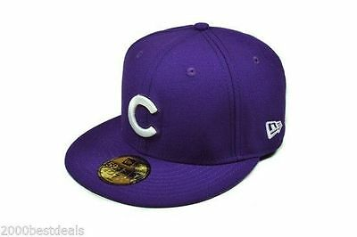 5ead404f0 New Era 59Fifty Cap MLB Chicago Cubs Mens Womens Purple White Custom Fitted  Hat