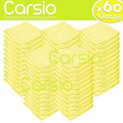 60x Yellow Car Cleaning Detailing Microfiber Soft Polish Cloths Towels Bulk Pack