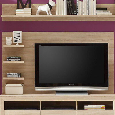 wandpaneel eiche sonoma hell wohnzimmer wandboard tv paneel fernsehwand regal eur 58 50. Black Bedroom Furniture Sets. Home Design Ideas