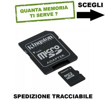 Scheda Memoria Secure Digital Micro Sd 8Gb 16Gb 32Gb 64Gb Kingston