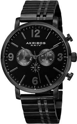 Akribos XXIV AK782BK Swiss Quartz Day Date GMT Black Stainless Steel Mens Watch