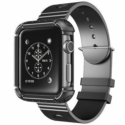 Apple Watch 38 mm Rugged Protective Case Strap Bands Sport Anti scratch Black