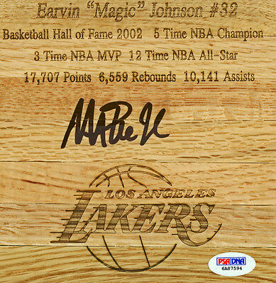 Lakers Magic Johnson Authentic Signed 6x6 Engraved Floorboard PSA/DNA ITP
