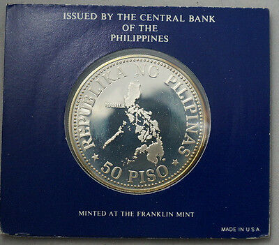 PHILIPPINES 50 Piso 1976 Silver Proof Map / I.M.F. Meeting