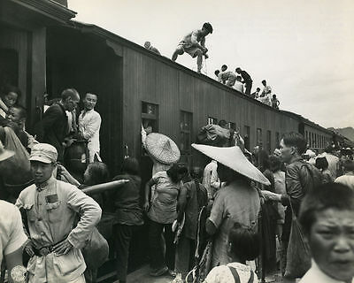 1944 MR Chinese Flee Japanese at South Railway Station Kweilin 8x10 Photo