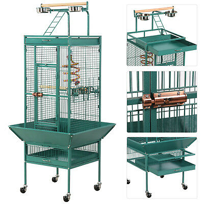 "Large Bird Parrot Cage Cockatiel Parakeet Finch Playtop Gym Perch Stand 62"" Gree"