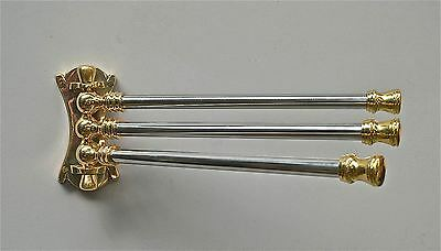 Art Deco Style Brass And Nickel Wall Mount Towel Rail Pivot 3 Arm Towel Holder