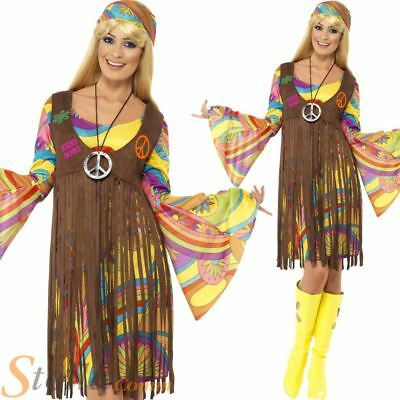 Ladies Hippy Costume 60s 70s Groovy Hippie Fancy Dress Womens Adult Outfit