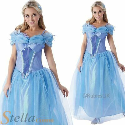 Ladies Official Disney Cinderella FairyTale Fancy Dress Costume Halloween Outfit