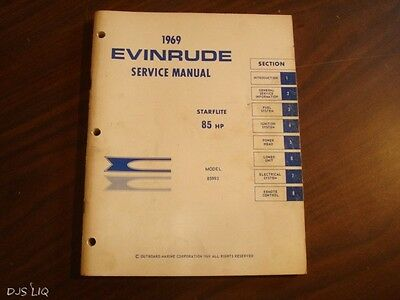 1969 Evinrude 85 H.p. Starflite Service Shop Repair Manual Cd22