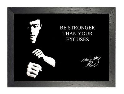 Bruce Lee Autograph Inspirational Quote 4 Black White Motivation Determination