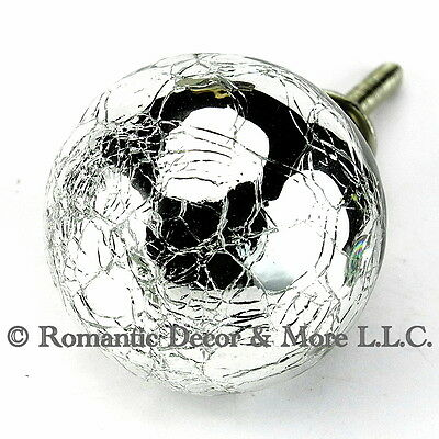 Crackle Mercury Glass Cabinet Knobs K217 for Kitchen Drawer with Nickel Hardware