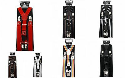 Punk Retro Dapper Vintage Clip On Y Shape Suspenders With Leather Extensions