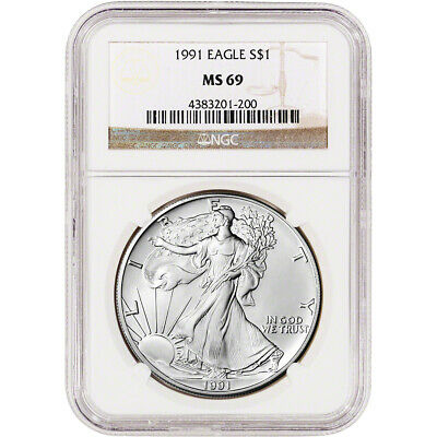 1991 American Silver Eagle - NGC MS69