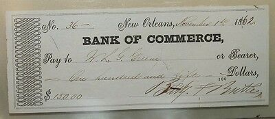 Original Civil War General Benjamin Butler Signed Check Dated 1862 New Orleans