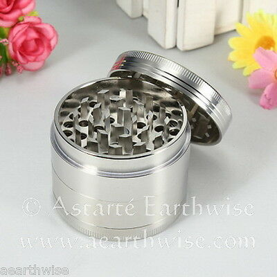 HERB GRINDER 4 LAYER SILVER ALLOY Wicca Witch Pagan Goth HAND MULLER HERBAL