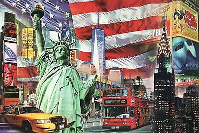 Statue of Liberty, Freedom Tower, Yellow Cab, Bus etc. New York City -- Postcard