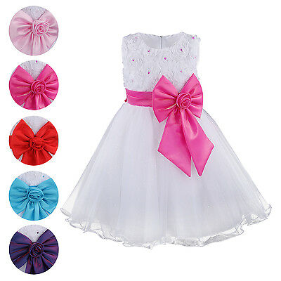 Girls Flower Sleeveless Bow Prom Formal Bridesmaid Party Princess Dress Wedding