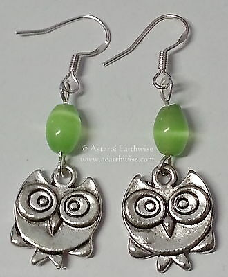 WISE OWL EARRINGS 925 STERLING SILVER HOOKS Wicca Witch Pagan Goth