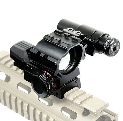 Holographic Tactical Red Green 4 Reticles Reflex Dot Scope + laser sight combo