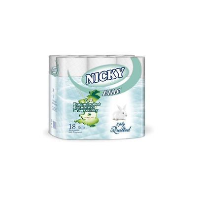Nicky Elite White 3 Ply Quilted Toilet Rolls (18)
