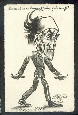 Artist Molynk french political comic postcard (72796