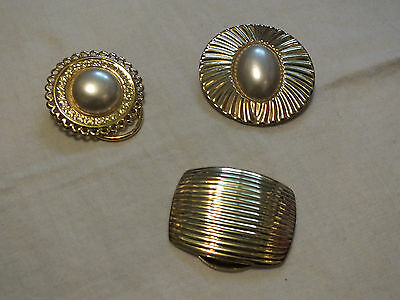 Collectible Gold Tone Set 3 Scarf Clips Faux Pearl Cabochon Heavy Texture WOW