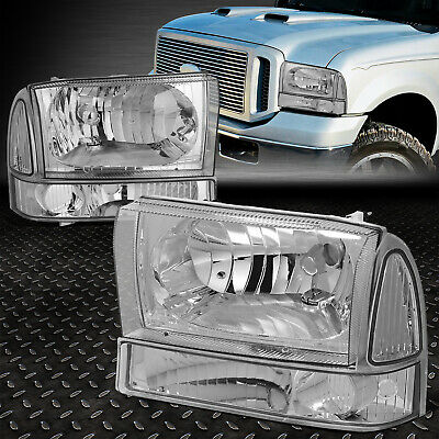 For 1999-2004 Ford Super Duty Pair Chrome Housing Clear Side Headlight/lamp Set
