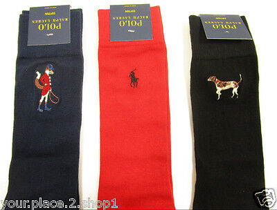 New in Box Polo Ralph Lauren Men's 3 for 1 Red, Blue, & Black Solid Sock Set