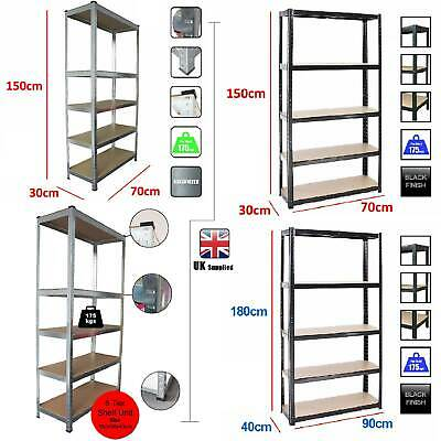Boltless 5 or 4 Tier Heavy Duty Garage Storage Metal Steel Shelving Racking Unit