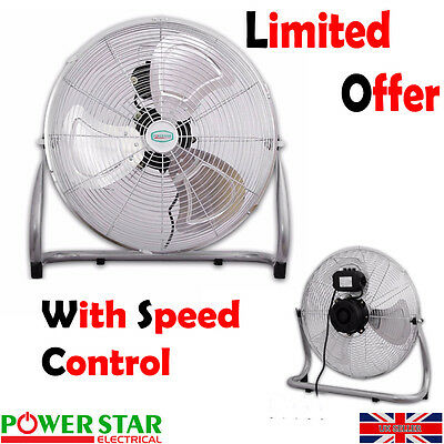Commercial Portable Velocity Chrome Floor Electric Fan 3 Speed Metal 16 18 20 24
