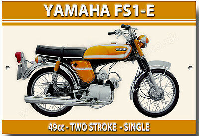 Yamaha Fs1E Enamelled Metal Sign.vintage Japanese Motorcycles.