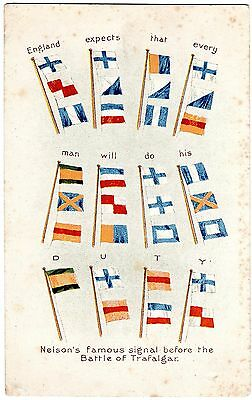 Patriotic Postcard Flags-Nelson`s Famous Signal Before The Battle Of Trafalger