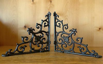 "2 BROWN ANTIQUE-STYLE 9.5"" CAST IRON SHELF BRACKETS braces garden FANCY ORNATE"