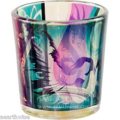 FAIRY FANTASY PRINTED GLASS VOTIVE HOLDER Wicca Pagan Witch Goth Occult Spell