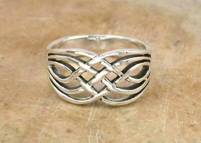 LARGE .925 STERLING SILVER WOVEN CELTIC KNOT RING size 7  style# r0787