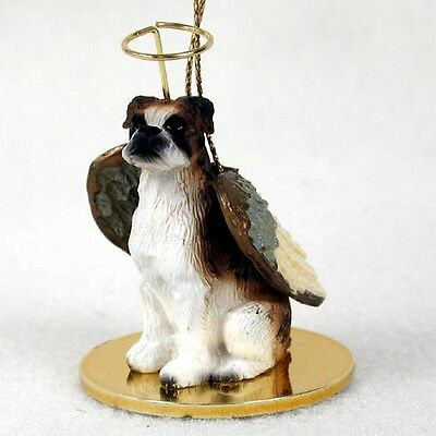 BOXER Brindle UnCropped Ears Dog ANGEL Tiny One Ornament Figurine Statue